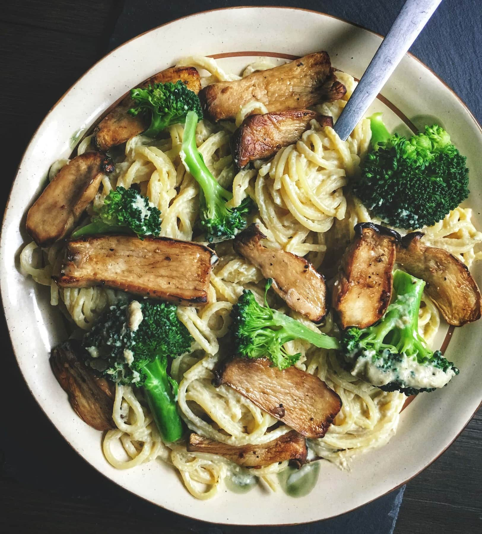 creamy vegan pasta with mushrooms and broccoli