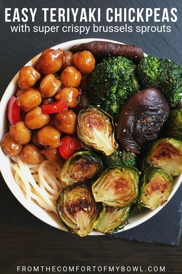 Teriyaki Chickpeas with Crispy Brussels Sprouts