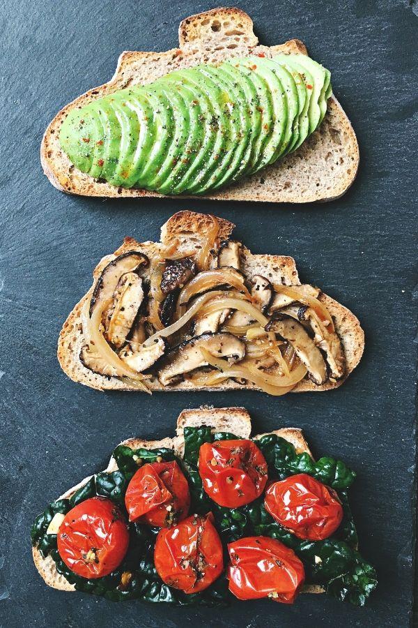 avocado mushroom tomatoes on sourdough toasts
