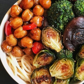 Teriyaki Chickpeas with roasted brussels sprouts in a bowl