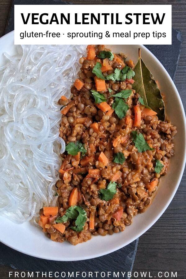 vegan lentil stew with noodles in a bowl