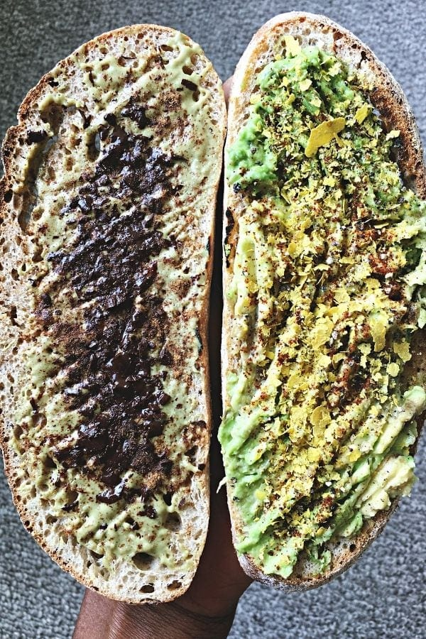 pumpkin seed butter and avocado on sourdough toasts