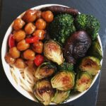 Teriyaki Chickpeas with crispy brussel sprouts