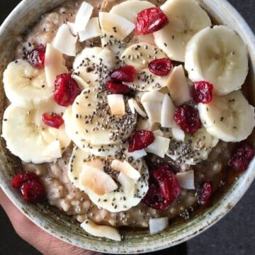 banana cranberry coconut steel cut oatmeal toppings
