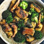 pan-fried gnocchi with broccoli and mushrooms in a bowl