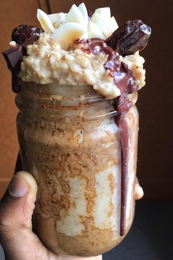 dark chocolate coconut dates creamy steel cut oatmeal toppings