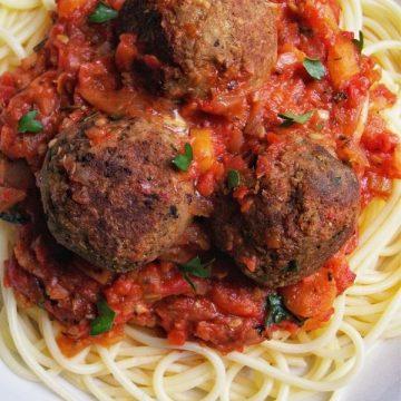 vegan gluten free mushroom lentil meatballs with spaghetti