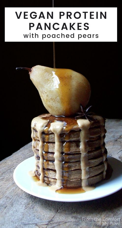 stack of vegan pancakes with poached pears, maple syrup and hazelnut butter on a plate