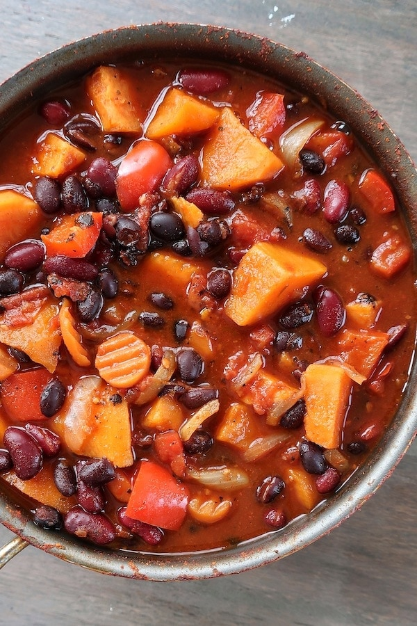 Vegan Sweet Potato Chili Slow Cooker Instant Pot Or Stovetop From The Comfort Of My Bowl