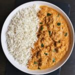 vegan butter chicken with basmati rice in a bowl