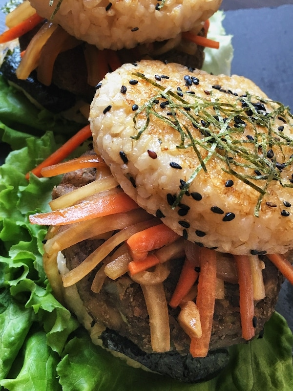 rice bun burger with kimpira on lettuce