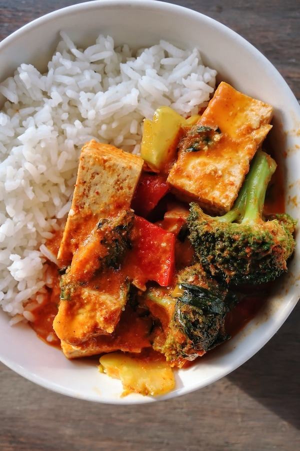 vegan thai red curry with tofu in a bowl