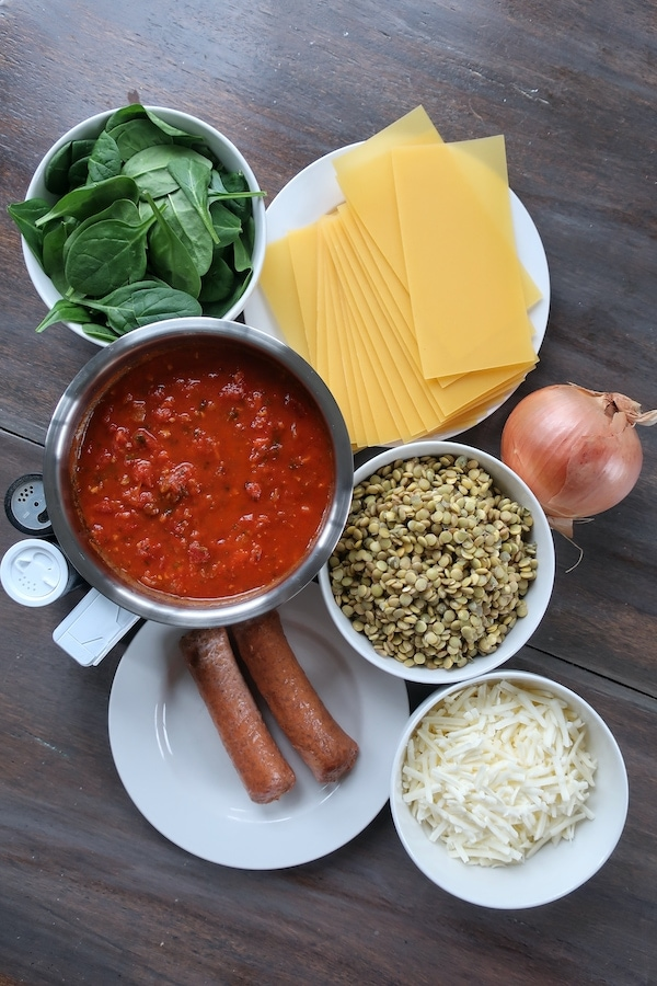 ingredients for vegan lasagna with lentils and sausage