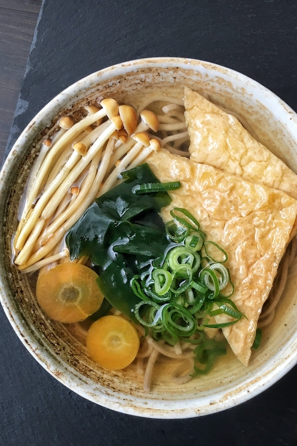 vegan buckwheat noodle soup in a bowl