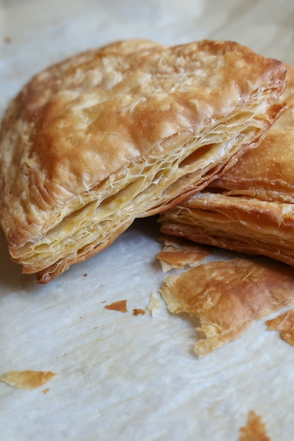 vegan puff pastry on parchment paper