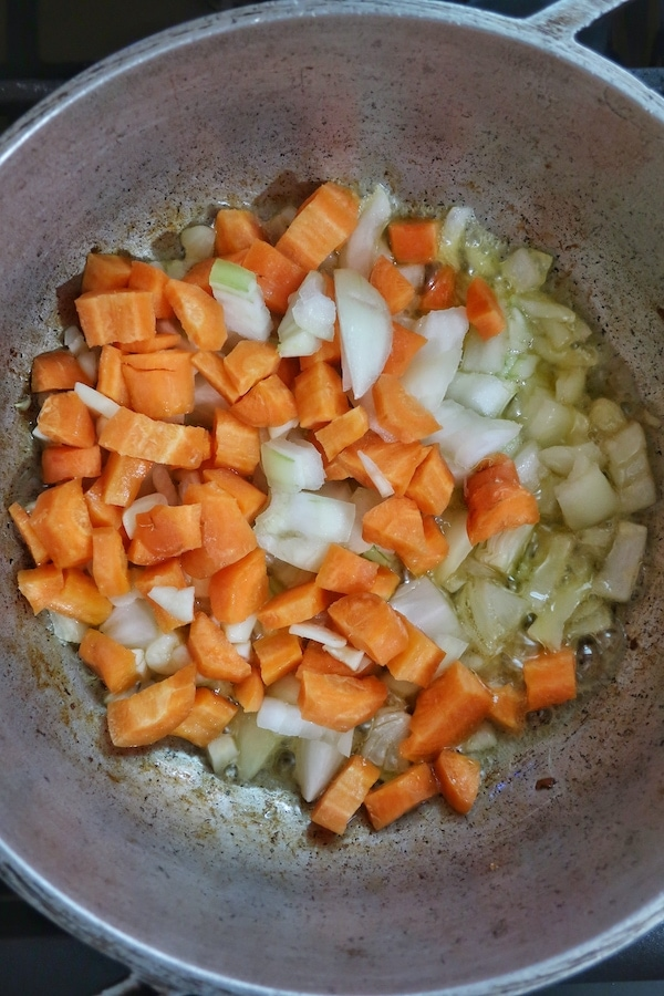veggies sautéing in pot